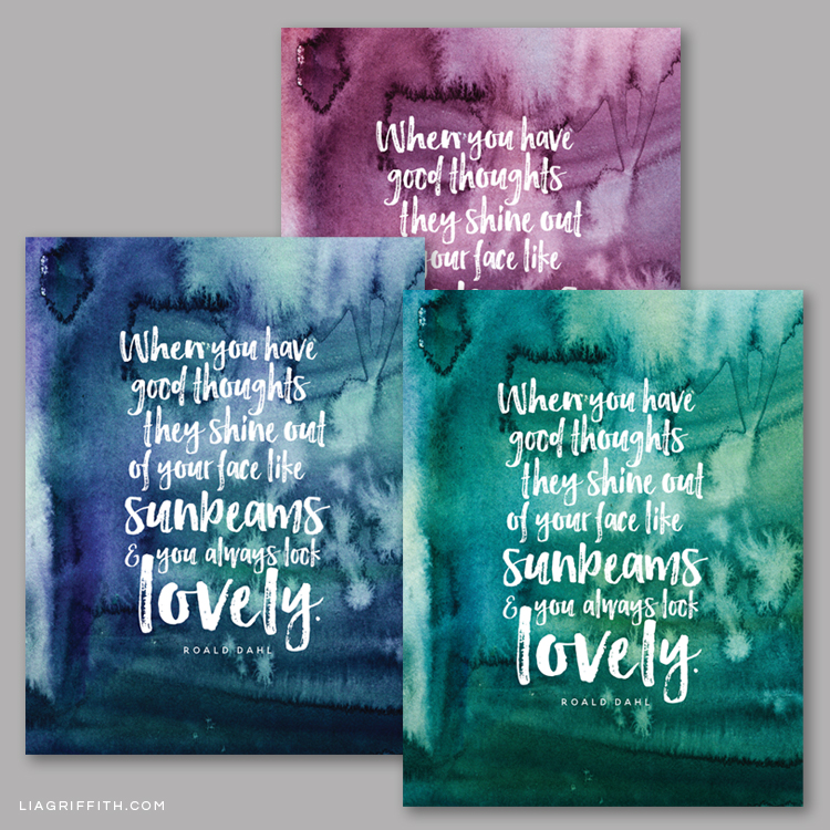 Printable Roald Dahl quote in purple, teal, and blue