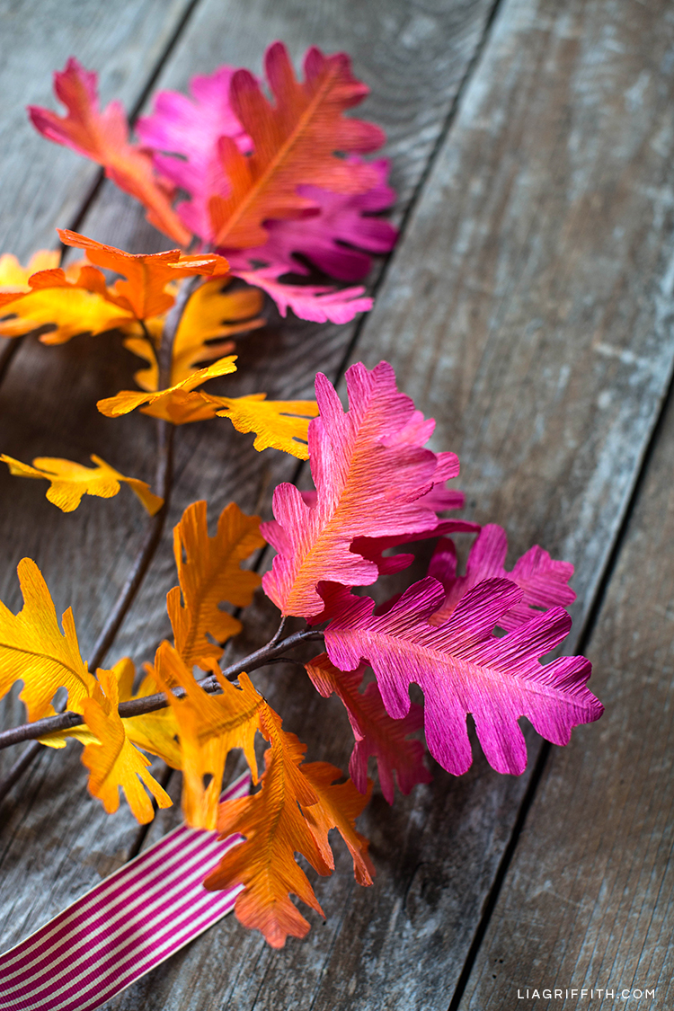 Ombré oak leaf branches on table