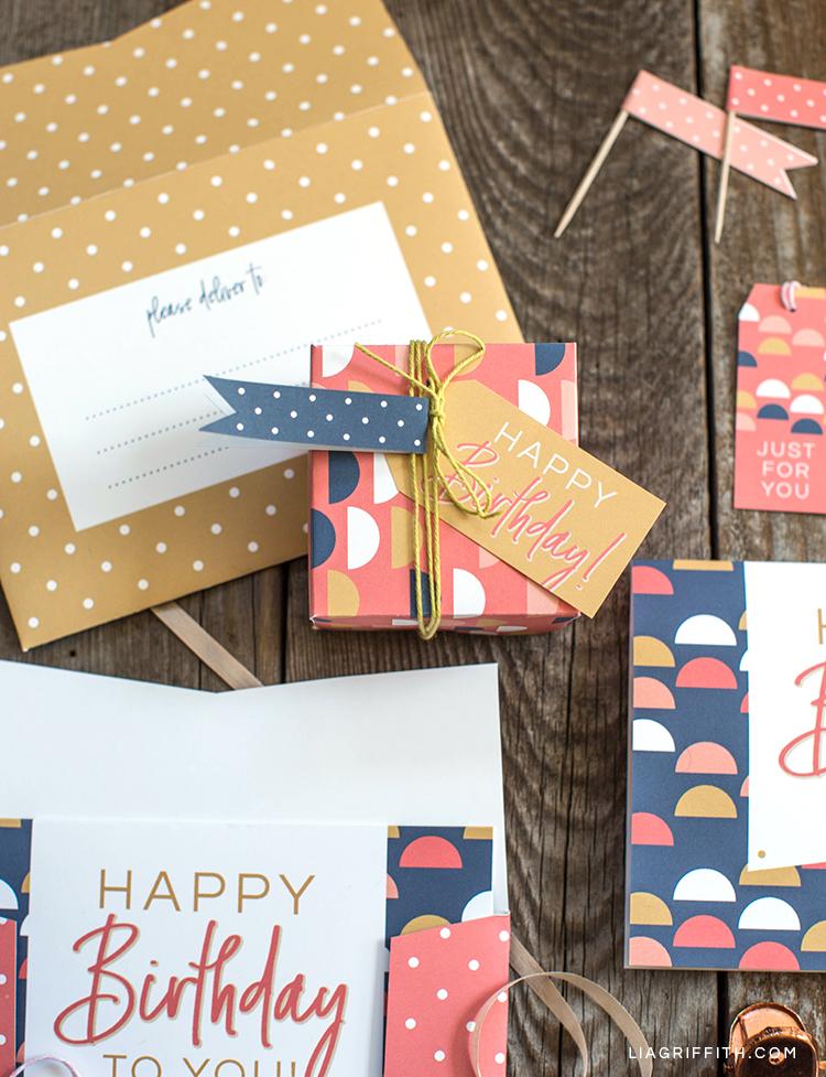 Printable birthday card, gift box, gift tag, and envelope