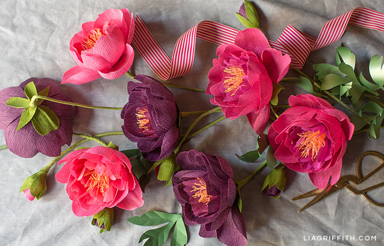 crepe paper peonies in fall colors