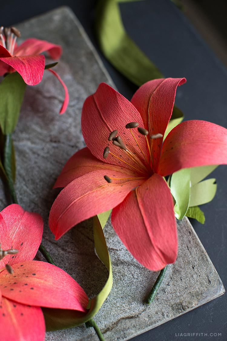 Red-orange crepe paper tiger lily