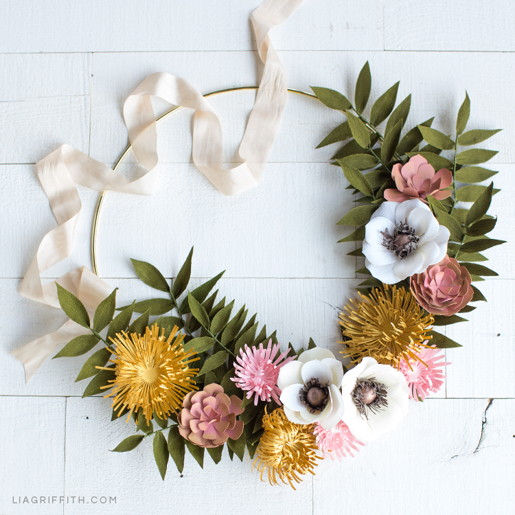 Paper flower wreath for fall with mums, anemones, succulents, and greenery