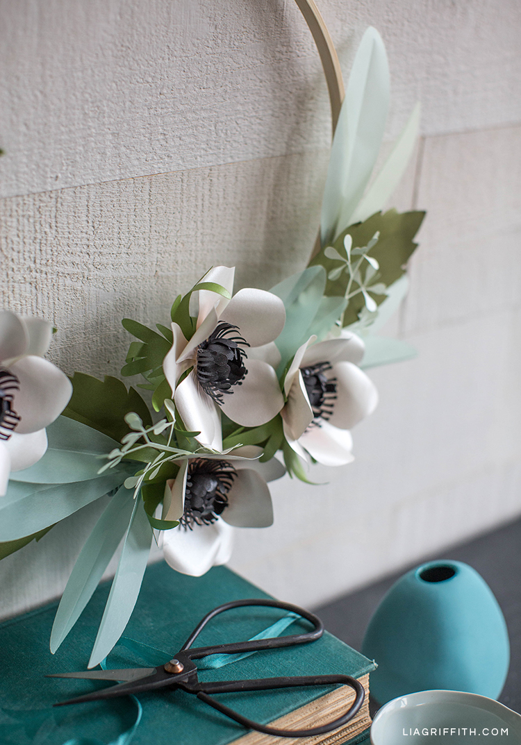 anemone and eucalyptus wreath