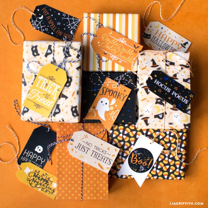 Printable Halloween Gift Tags and Gift Wrap