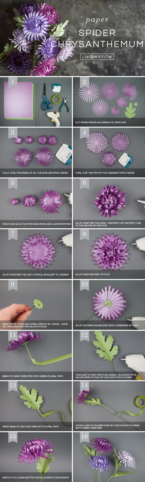 Photo tutorial for paper spider chrysanthemums by Lia Griffith