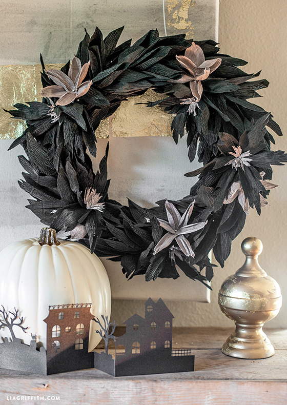 Black crepe paper wreath for Halloween