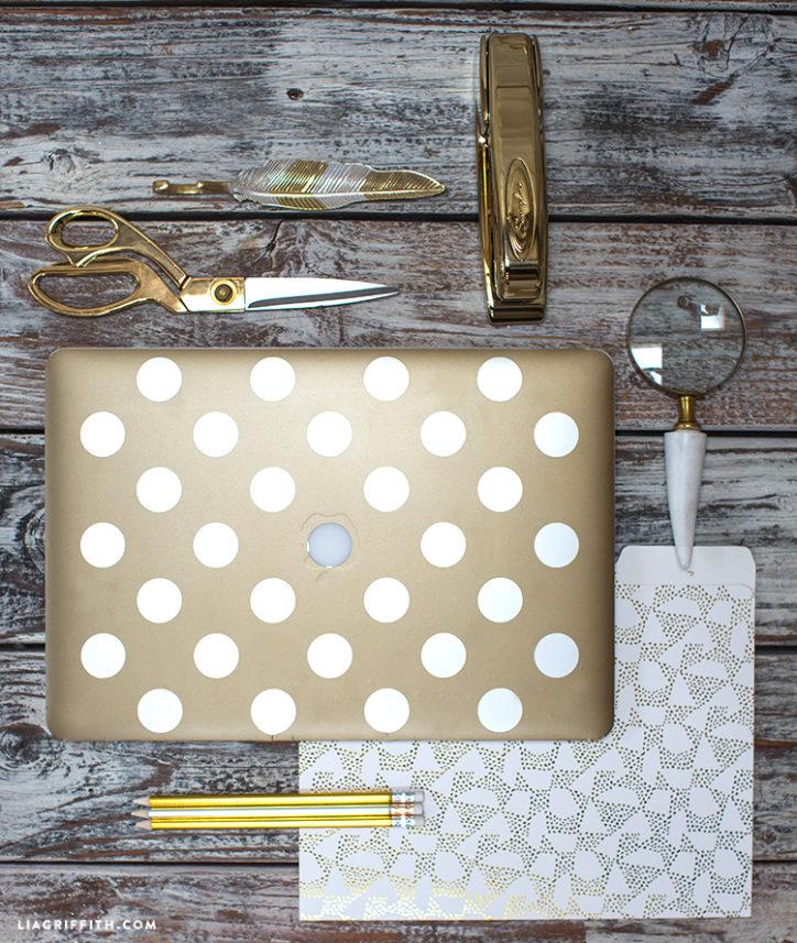 DIY Gold Polka Dot Computer Cover
