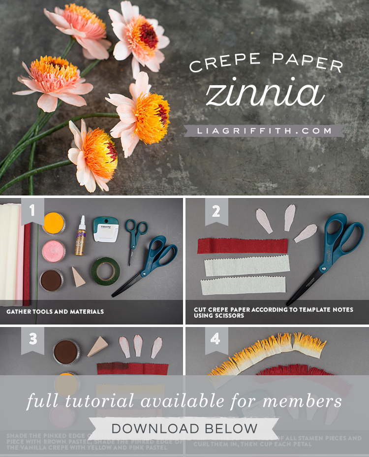 crepe paper zinnia tutorial by Lia Griffith
