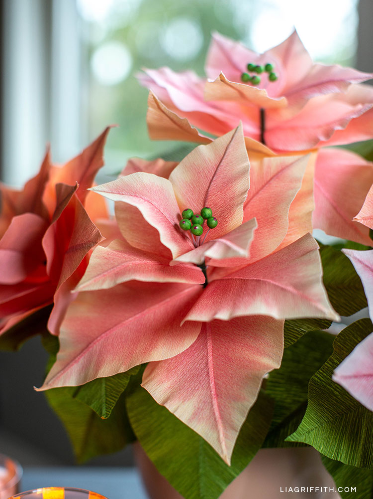 pink crepe paper poinsettia plants with green stamen