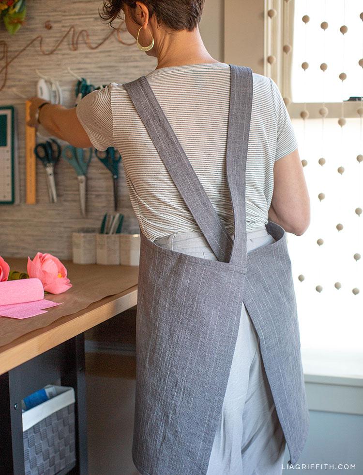 Back of DIY craft apron