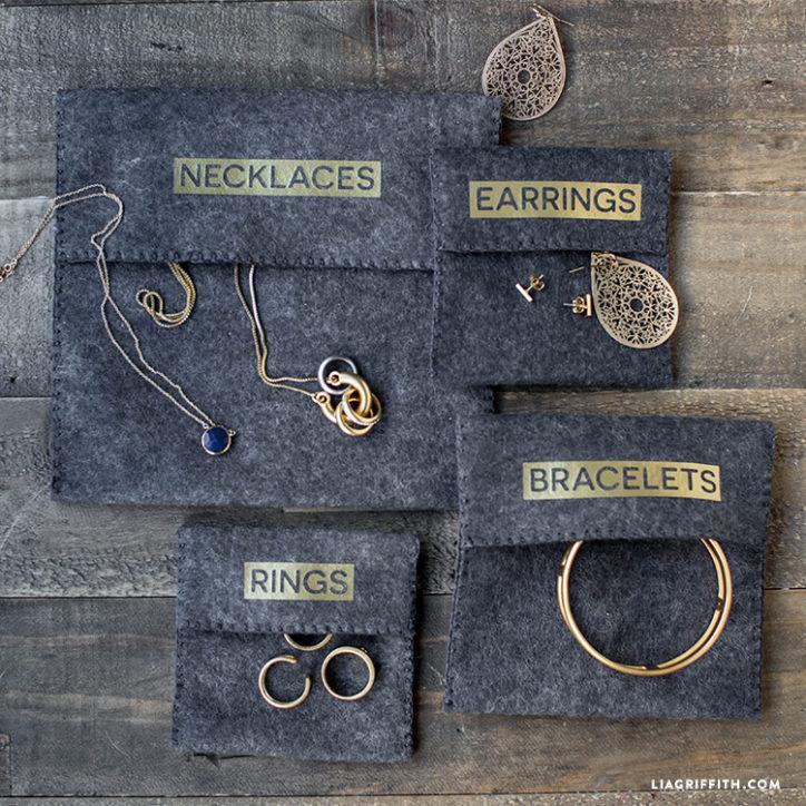 DIY felt jewelry pouches
