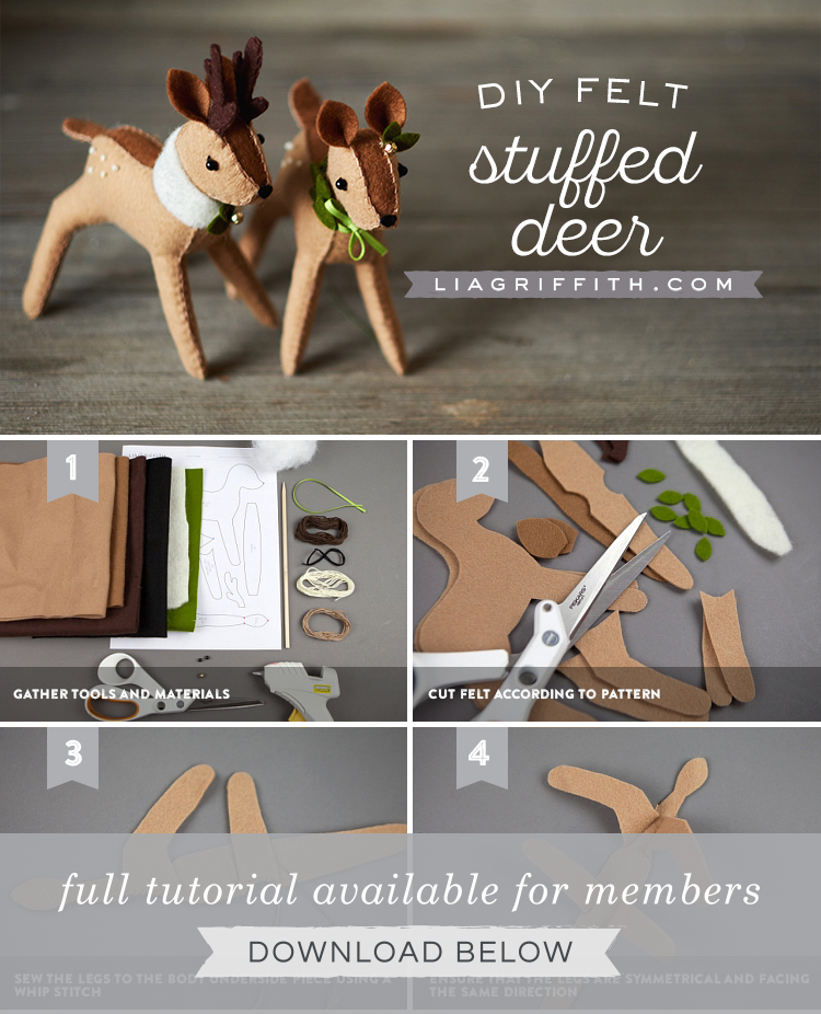 photo tutorial for diy felt reindeer by Lia Griffith
