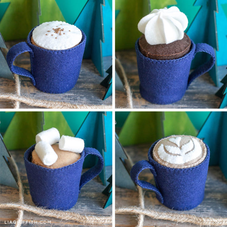 felt play cafe set featuring latte with foam, coffee with cream, latte art, and cocoa with marshmallows