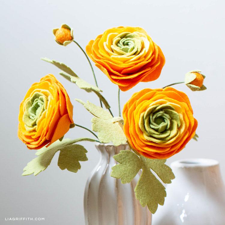 Felt ranunculus flowers in vase