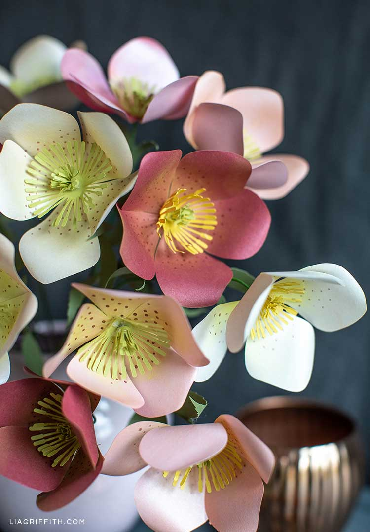 Pink, pearl, and red frosted paper Hellebore flowers