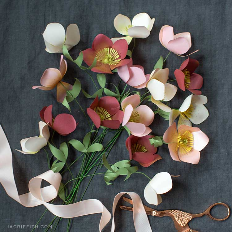 Pink and red frosted paper Hellebore flowers