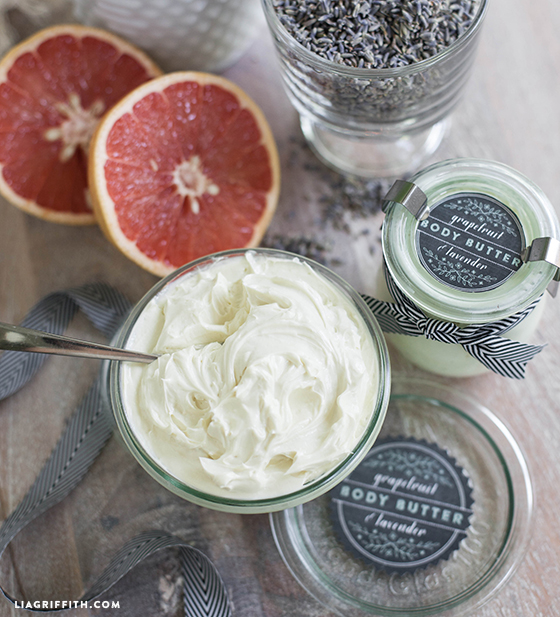 Homemade Whipped Body Butter next to grapefruit