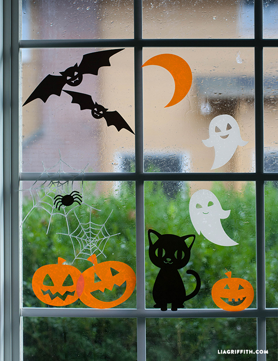 Bat, ghost, cat, and pumpkin window clings for Halloween