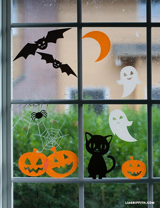 Bat, ghost, cat, and pumpkin window clings for Halloween