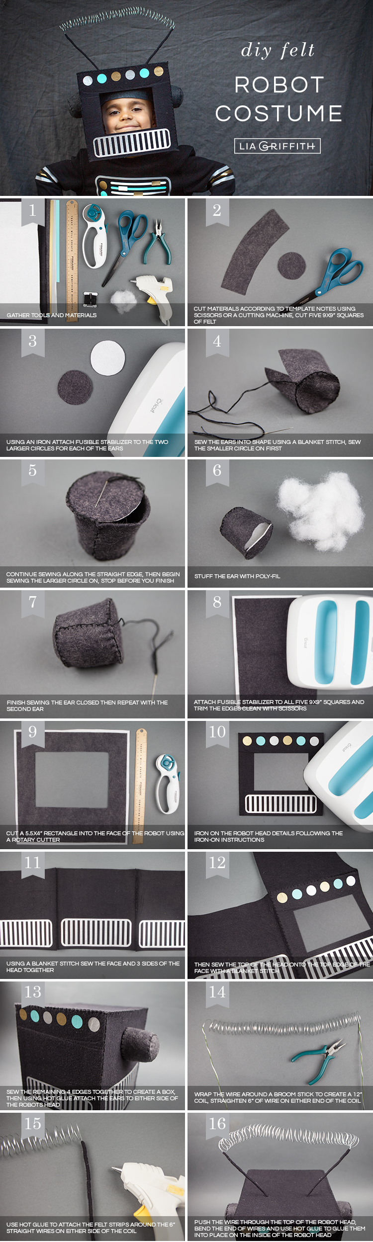 Photo tutorial for DIY robot costume by Lia Griffith