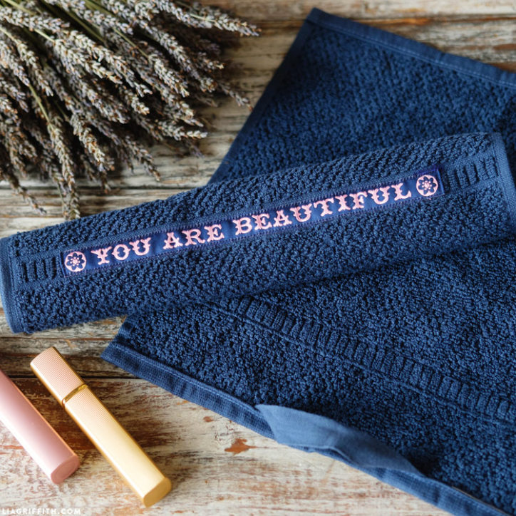 """DIY makeup washcloths with """"you are beautiful"""" printed on them"""