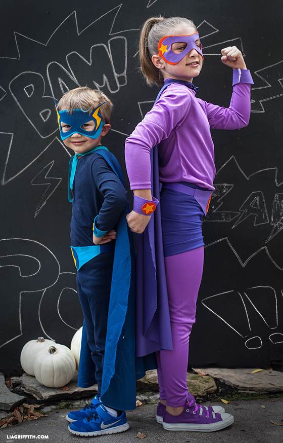 Kid's no-sew superhero costumes