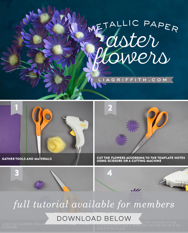 metallic paper aster flowers photo tutorial by Lia Griffith