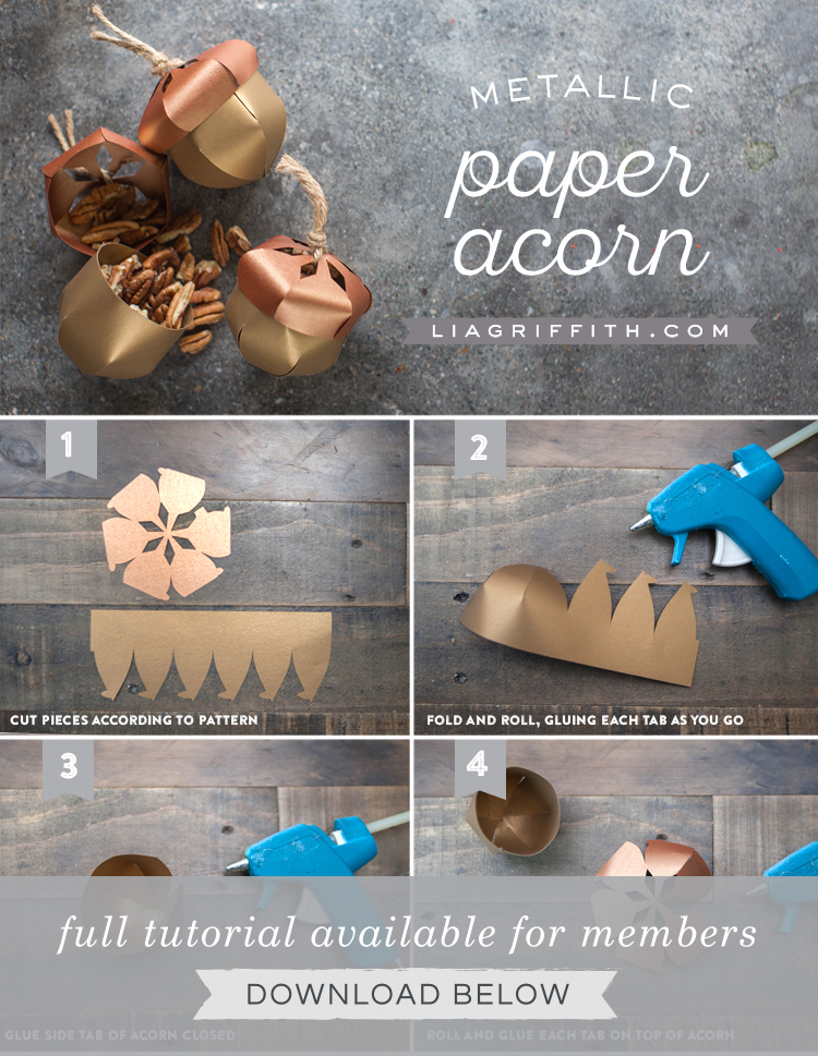 photo tutorial for paper acorn by Lia Griffith