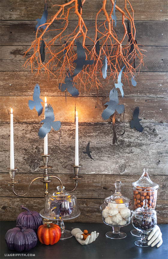 Flying paper crows for Halloween