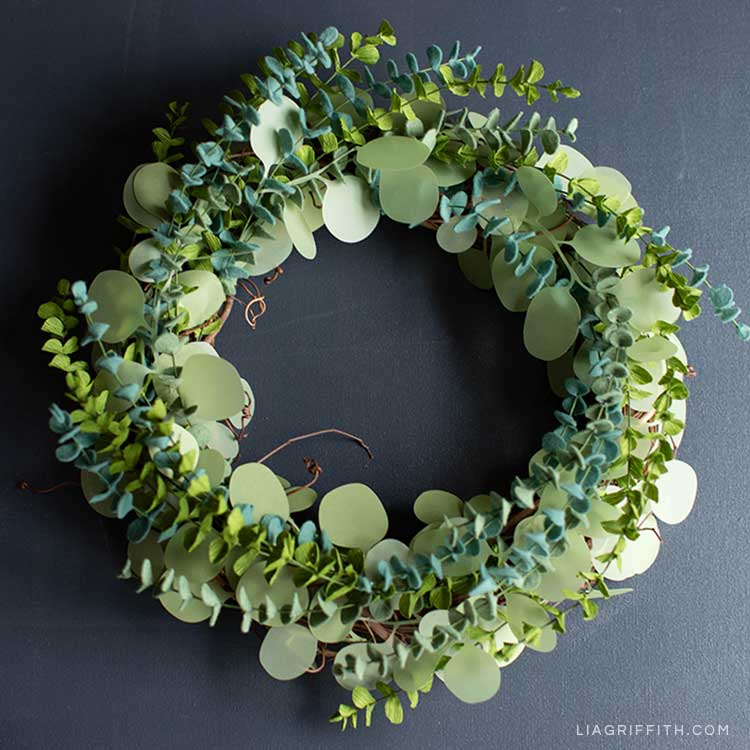 DIY paper and felt eucalyptus wreath