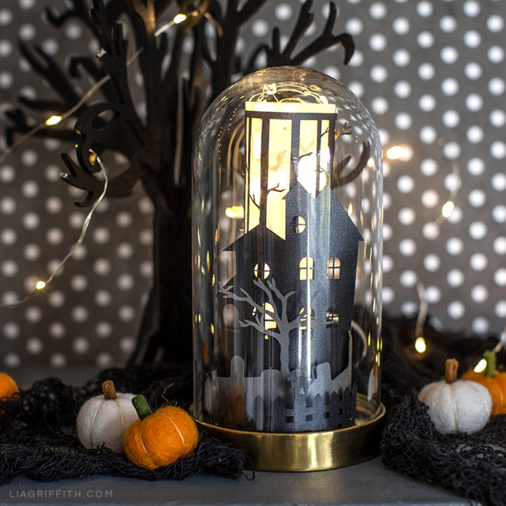 Haunted Halloween house in glass dome