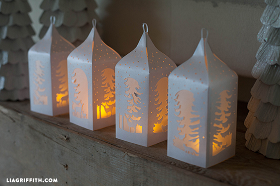 Winter paper lanterns by Lia Griffith