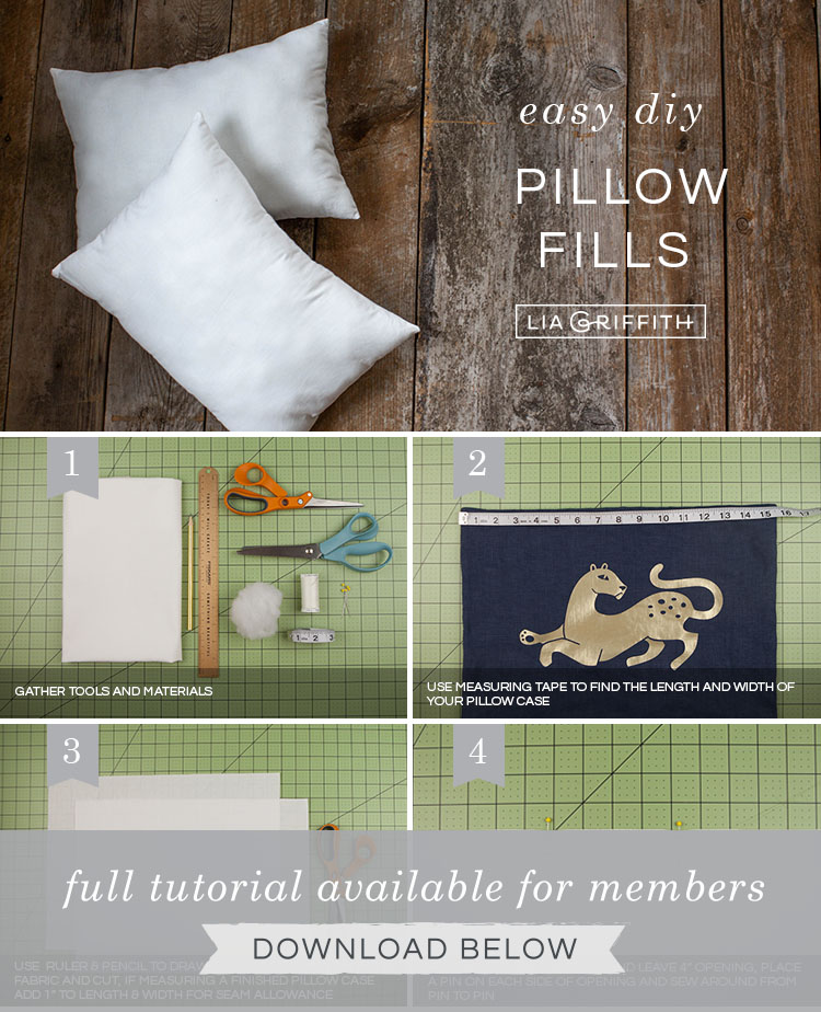 How to make pillow filling photo tutorial by Lia Griffith