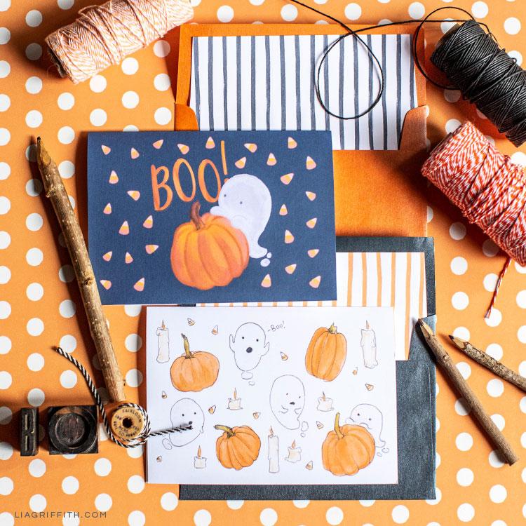 Enjoy These Free Printable Halloween Cards Lia Griffith