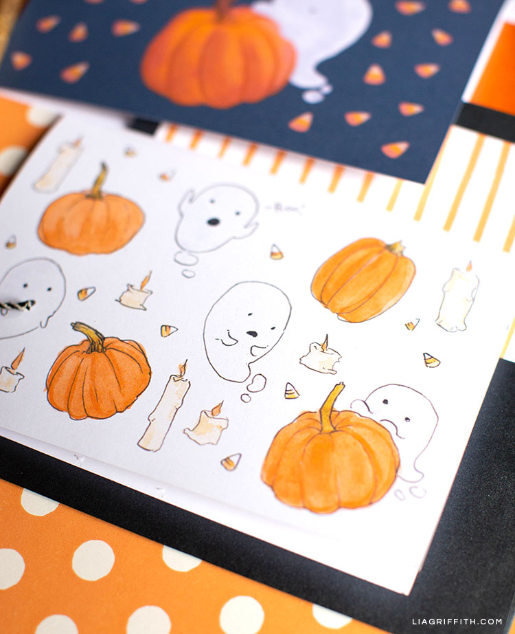 free printable Halloween cards with ghosts and pumpkins