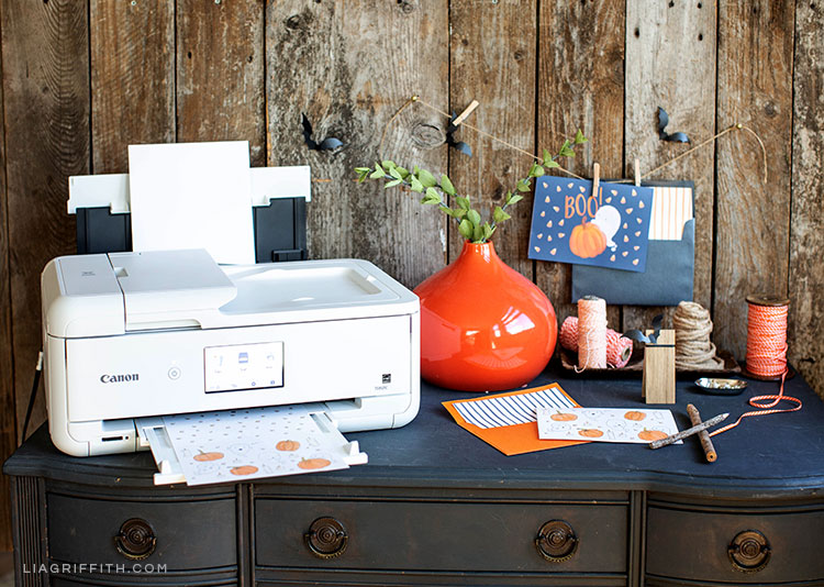 free printable Halloween cards next to Canon crafting printer