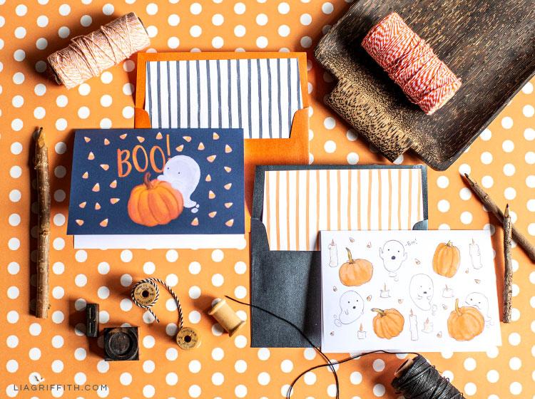 free printable Halloween cards on orange and white polka dot paper