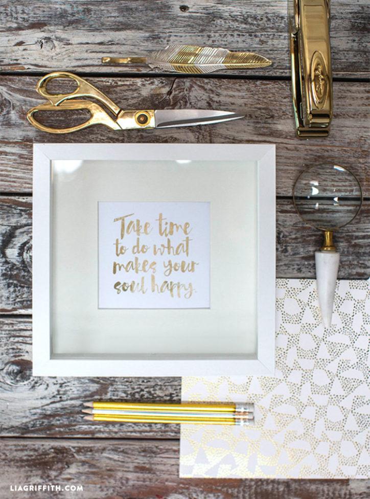 Positive Quote Gold Foil Art