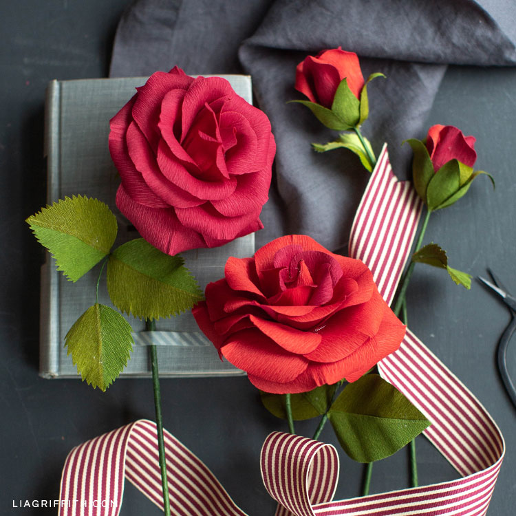 Crepe paper ruby rose flowers next to book and ribbon