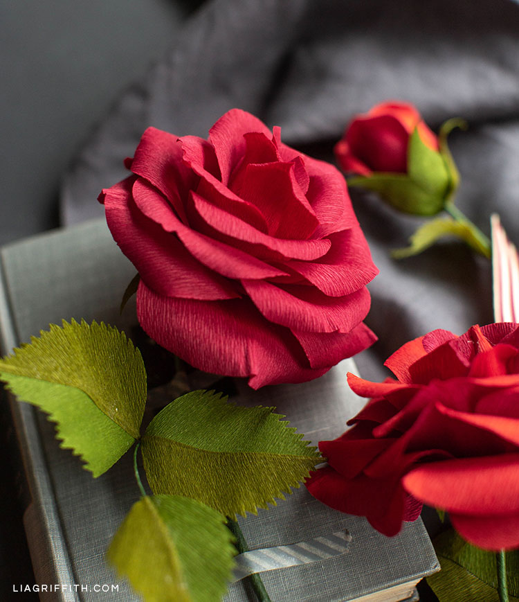 Crepe paper ruby rose flowers