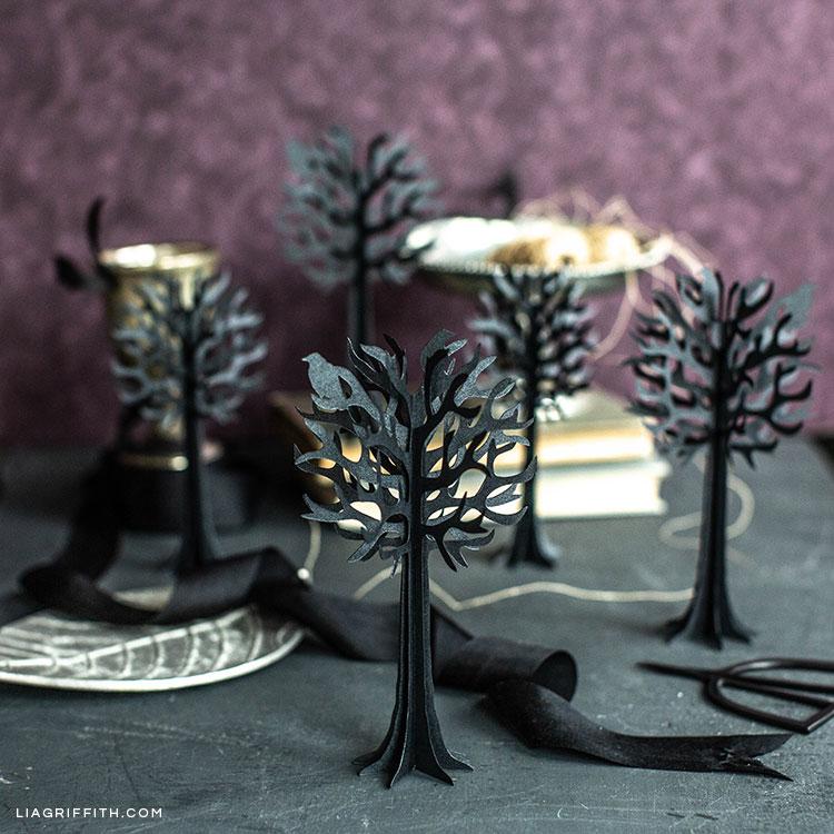 3D paper tree halloween decorations