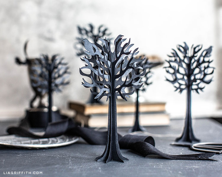3D paper tree halloween decorations on table