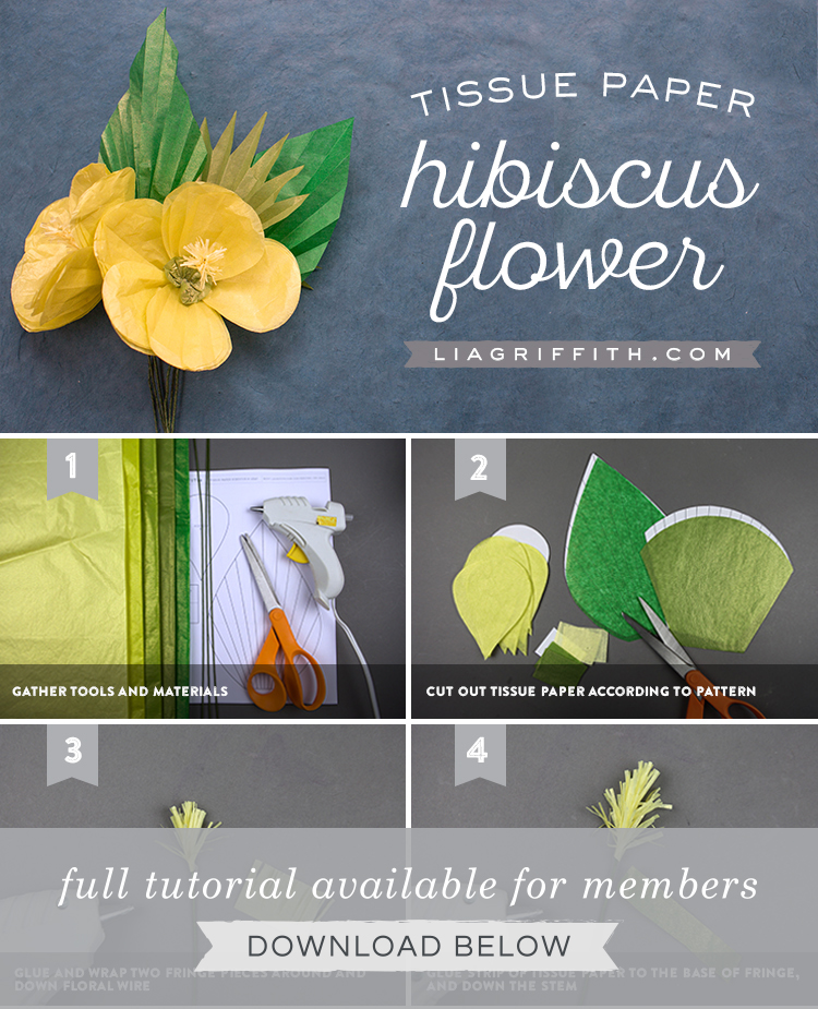 DIY photo tutorial for tissue paper hibiscus flower by Lia Griffith