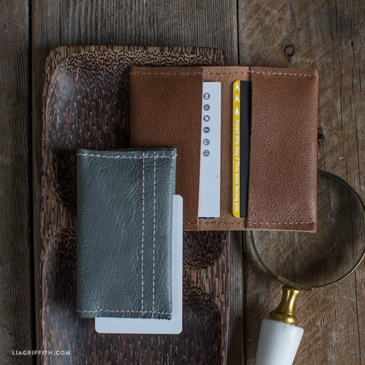 DIY brown and grey leather wallets