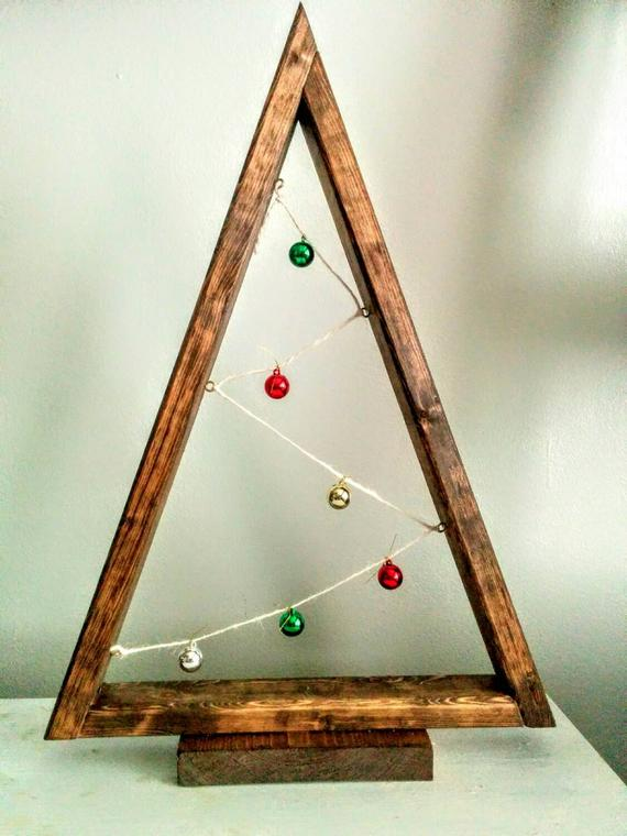 Wood tree decor with mini lights