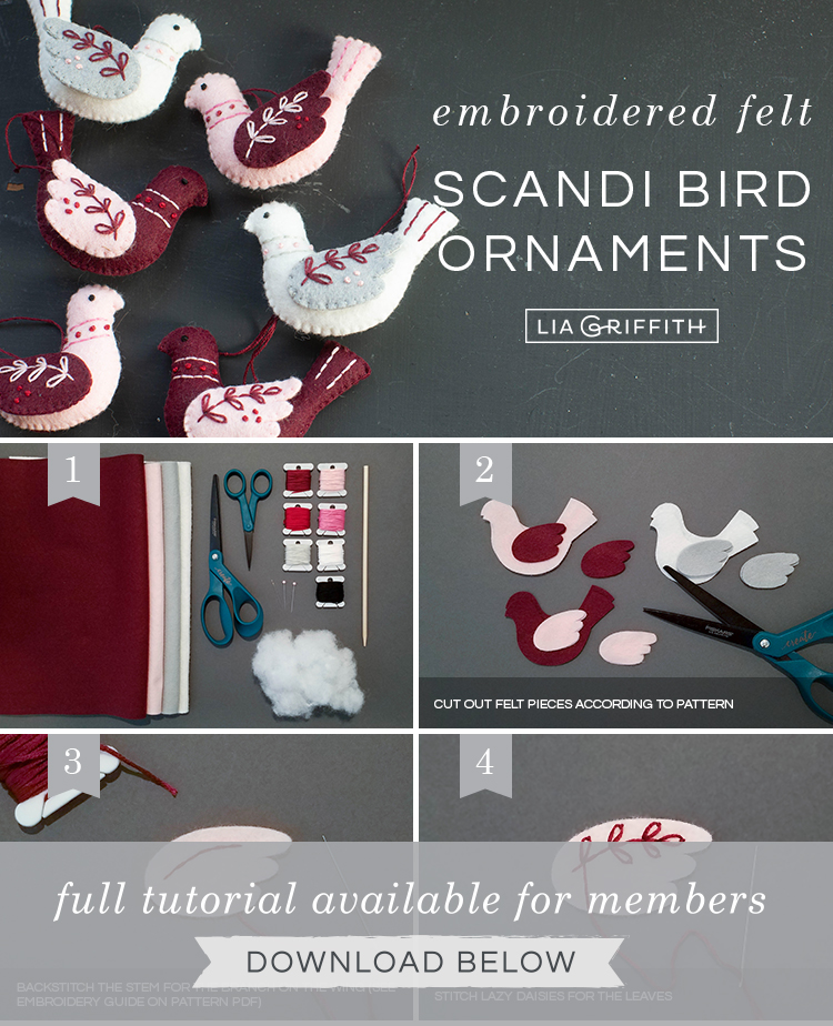 Photo tutorial for embroidered felt bird ornaments by Lia Griffith