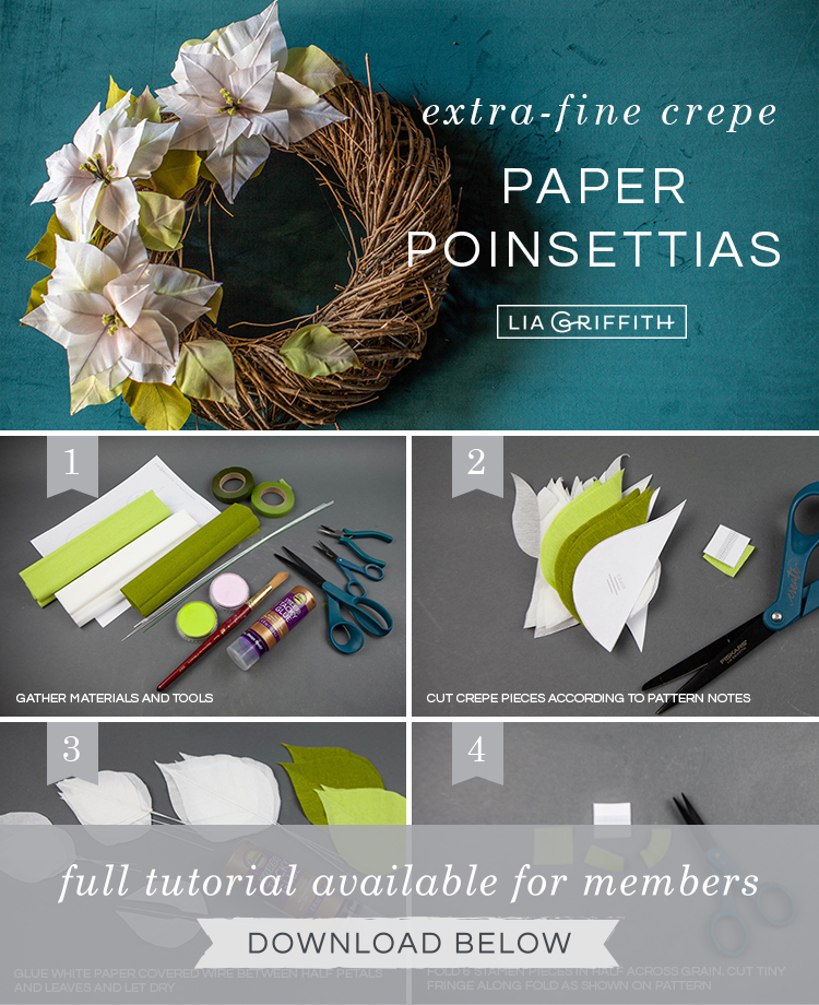 Photo tutorial for white crepe paper poinsettia wreath by Lia Griffith
