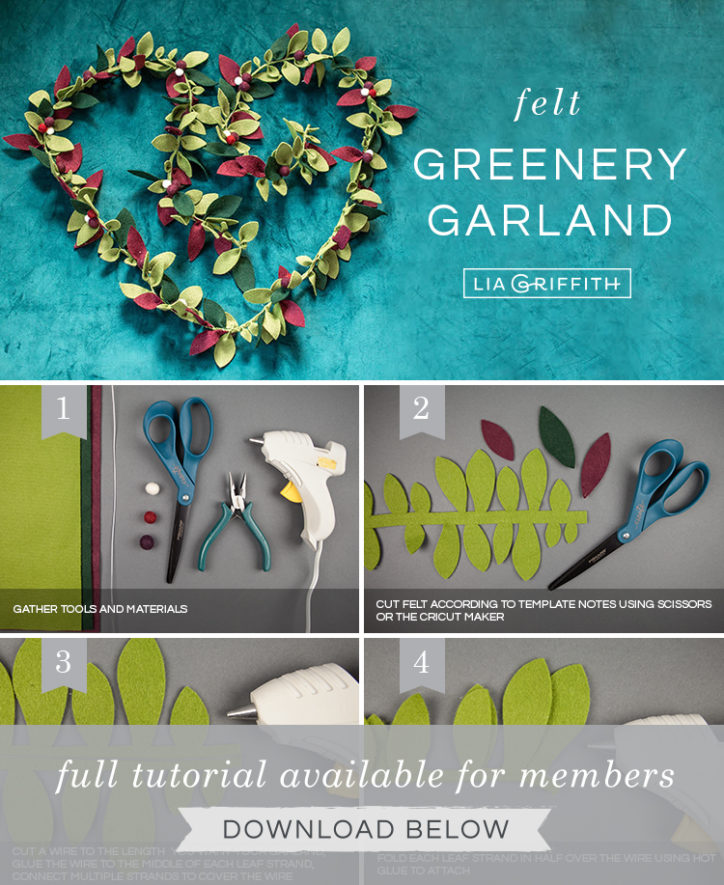 Photo tutorial for felt greenery garland by Lia Griffith