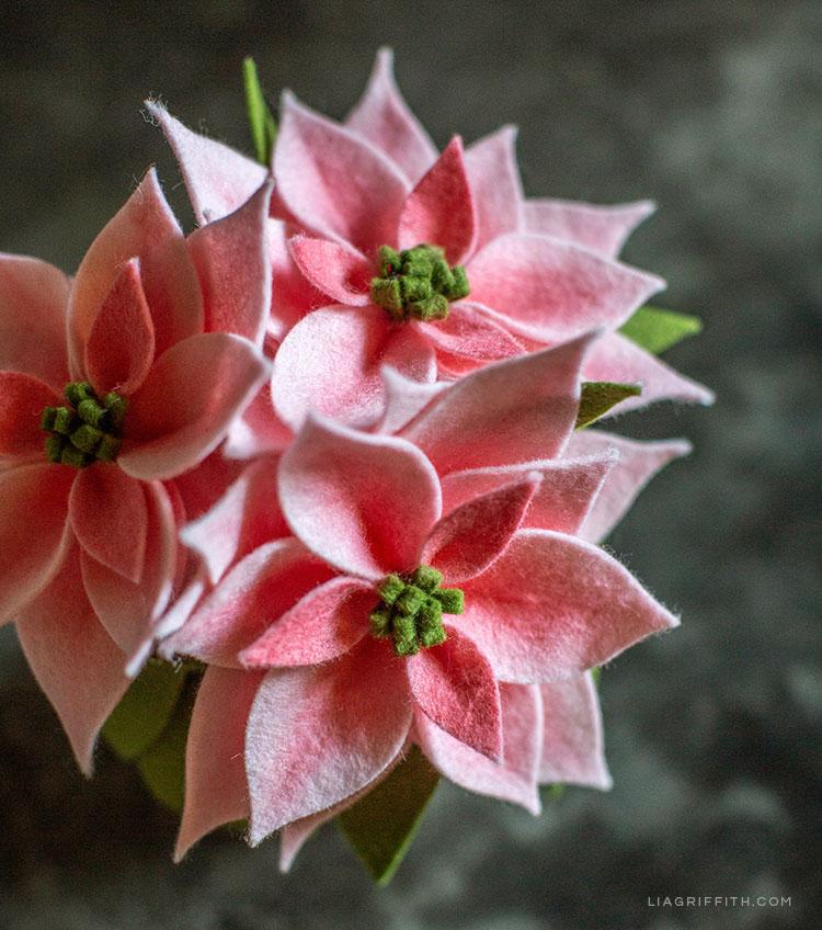 pink felt poinsettia plants
