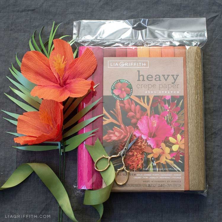 heavy crepe paper hibiscus flowers next to heavy crepe paper by Lia Griffith